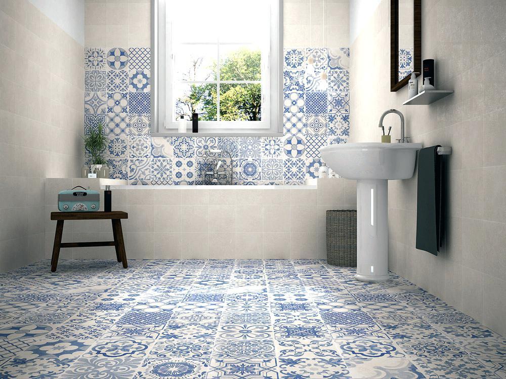 Mattonelle per bagno bagno con piastrelle bianco e blu - Piastrelle sopra piastrelle ...