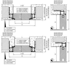 montaggio su Muratura filo44 porta batente filo muro reversibile scrigno